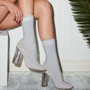 Aldo Silver Sock Style Chunky Acrylic Heel